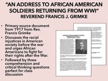 """Address to African American Soldiers Returning From WWI"" - Rev.Grimke-USH/APUSH"