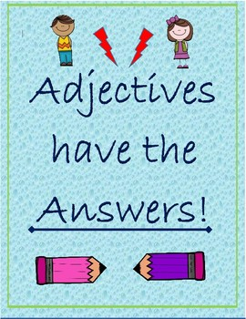 """Adjectives have the Answers"" Posters Freebie!"