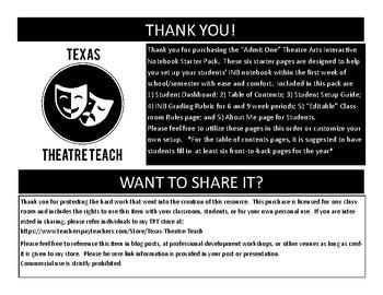 """Admit One"" Interactive Theatre Notebook Starter Pack"