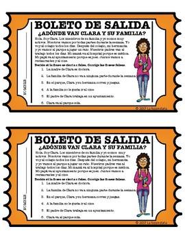 ¿Adónde van Clara y su familia? Reading Comprehension Exit Slip