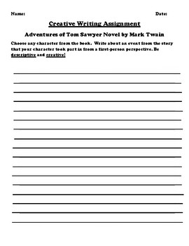 """Adventures of Tom Sawyer"" by Mark Twain Creative Writing"