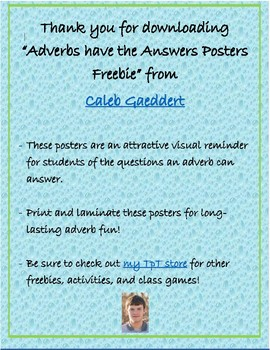 """Adverbs have the Answers"" Posters Freebie!"