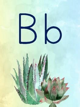 {Affiches de l'alphabet} Watercolour succulents alphabet posters