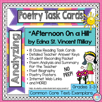"""""""Afternoon On a Hill"""" by Edna St. Vincent Millay  Poetry Analysis Task Cards"""