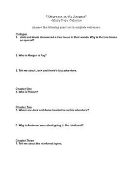 """Afternoon on the Amazon"" Comprehension Questions"