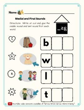 -Ag Word Family Kit 13 pages (Blend Seg CVC) Transitional K, Kinder, 1st, 2nd