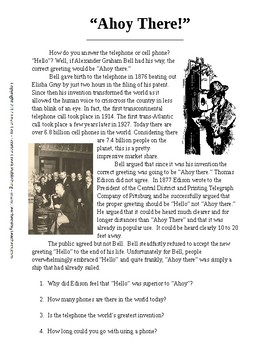 "Alexander Bell ""Ahoy There"" A One-Page Literacy w Follow-up Qs"