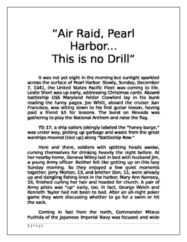 """Air Raid, Pearl Harbor...This is No Drill."""