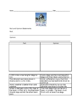 """""""Akiak"""" Fact and Opinion write in and wondering page"""