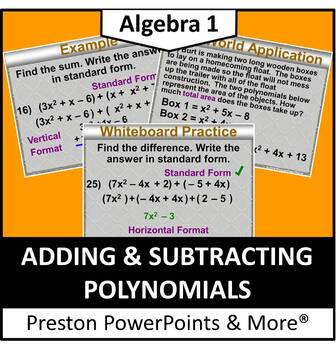 (Alg 1) Adding and Subtracting Polynomials in a PowerPoint Presentation