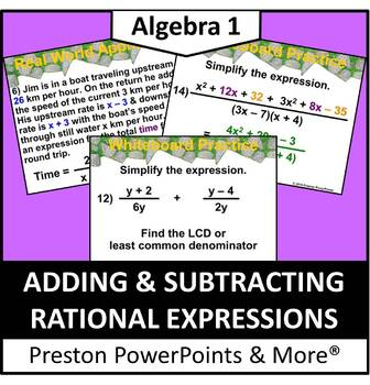 (Alg 1) Adding and Subtracting Rational Expressions in a PowerPoint
