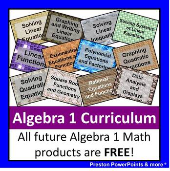 alg 1 curriculum bundle in a powerpoint presentation by preston