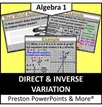 (Alg 1) Direct and Inverse Variation in a PowerPoint Presentation