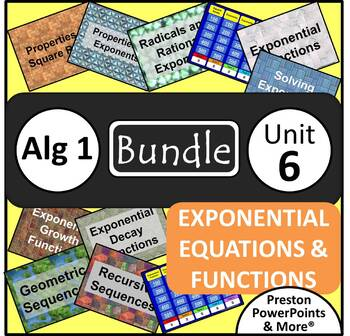 (Alg 1) Exponential Equations and Functions {Bundle} in a PowerPoint