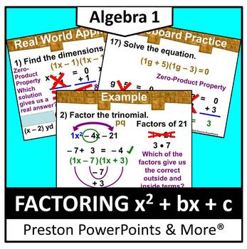 (Alg 1) Factoring x2 + bx + c in a PowerPoint Presentation