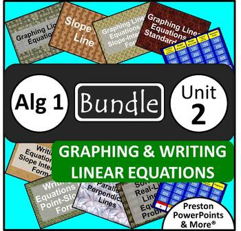 (Alg 1) Graphing and Writing Linear Equations {Bundle} in a PowerPoint