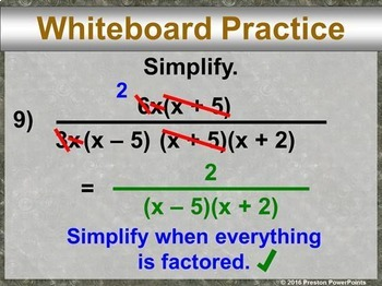 (Alg 1) Multiplying and Dividing Rational Expressions in a PowerPoint