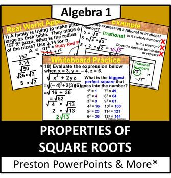 (Alg 1) Properties of Square Roots in a PowerPoint Presentation