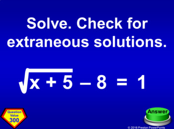 (Alg 1) Quiz Show Game Square Root Functions and Geometry in a PowerPoint