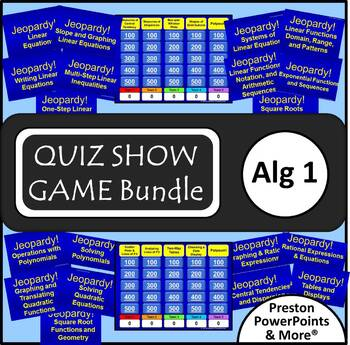 (Alg 1) Quiz Show Game {Bundle} in a PowerPoint Presentation