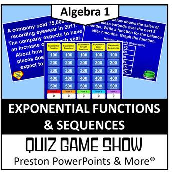 (Alg 1) Quiz Show Game Exponential Functions and Sequences in a PowerPoint