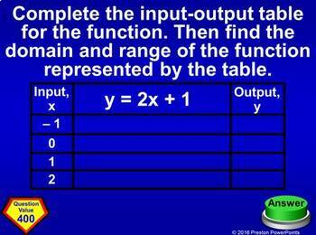 (Alg 1) Quiz Show Game Linear Functions Domain, Range, & Patterns in PowerPoint