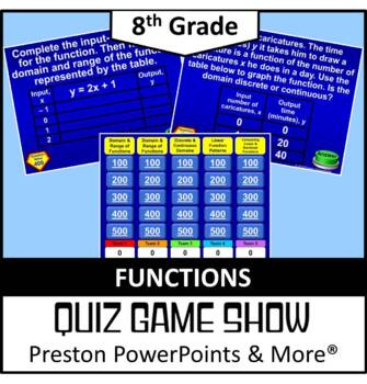 (Alg 1) Quiz Show Game Linear Functions Domain, Range, & P