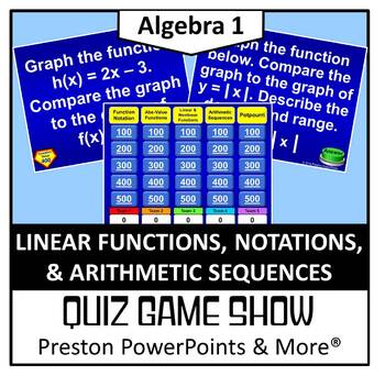 alg 1) quiz show game linear functions, notation, & arithmetic, Powerpoint templates