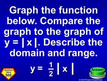 (Alg 1) Quiz Show Game Linear Functions, Notation, & Arithmetic Sequences in PPT