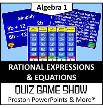 (Alg 1) Quiz Show Game Rational Expressions and Equations in a PowerPoint