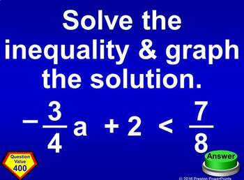 (Alg 1) Quiz Show Game Solving Multi-Step Linear Inequalities in a PowerPoint