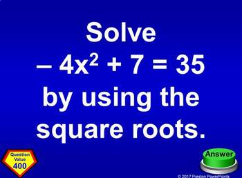 (Alg 1) Quiz Show Game Solving Quadratic Equations in a PowerPoint Presentation