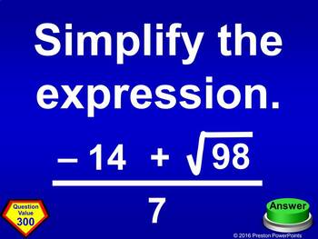 (Alg 1) Quiz Show Game Square Roots and Exponents in a PowerPoint Presentation