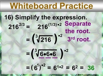 (Alg 1) Radicals and Rational Exponents in a PowerPoint Presentation