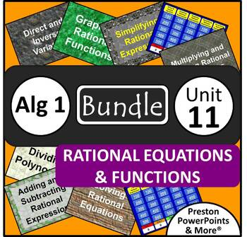 (Alg 1) Rational Equations and Functions {Bundle} in a PowerPoint Presentation