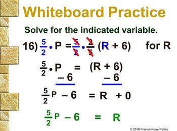 (Alg 1) Rewriting Equations and Formulas in a PowerPoint Presentation