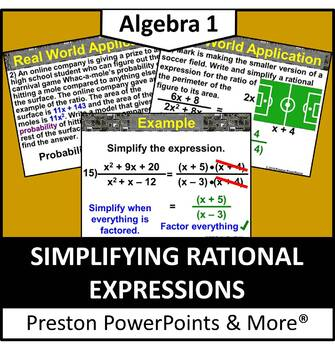 (Alg 1) Simplifying Rational Expressions in a PowerPoint Presentation
