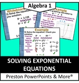 (Alg 1) Solving Exponential Equations in a PowerPoint Presentation