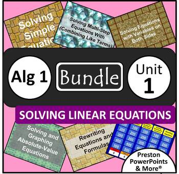 (Alg 1) Solving Linear Equations {Bundle} in a PowerPoint Presentation