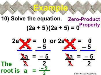 (Alg 1) Solving Polynomial Equations in Factored Form in a PowerPoint