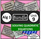 (Alg 1) Solving Quadratic Equations {Bundle} in a PowerPoint Presentation