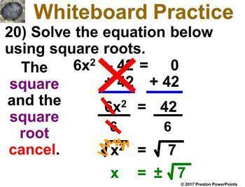 (Alg 1) Solving Quadratic Equations Using Square Roots in a PowerPoint