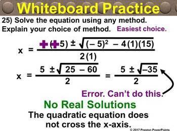 (Alg 1) Solving Quadratic Equations Using the Quadratic Formula in a PowerPoint