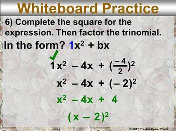 (Alg 1) Solving Quadratic Equations by Completing the Square in a PowerPoint