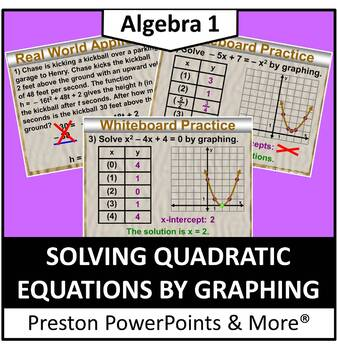 (Alg 1) Solving Quadratic Equations by Graphing in a PowerPoint Presentation