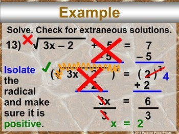 (Alg 1) Solving Square Root Equations in a PowerPoint Presentation