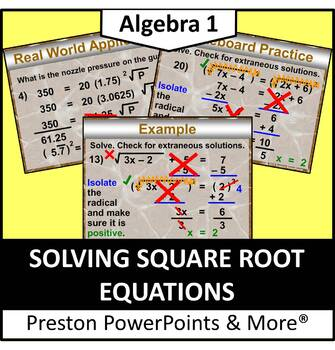(Alg 1) Solving Square Root Equations in a PowerPoint Pres