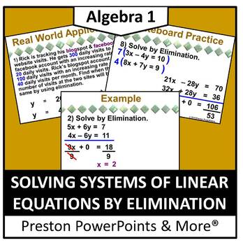 (Alg 1) Solving Systems of Linear Equations by Elimination in a PowerPoint