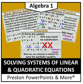(Alg 1) Solving Systems of Linear and Quadratic Equations in a PowerPoint