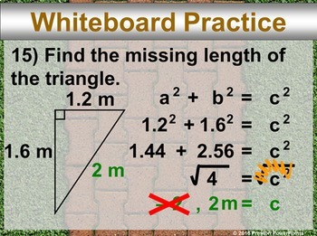 (Alg 1) The Pythagorean Theorem in a PowerPoint Presentation